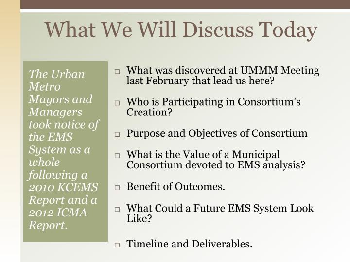 What we will discuss today