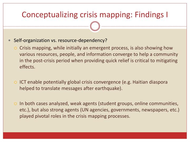 Conceptualizing crisis mapping findings i