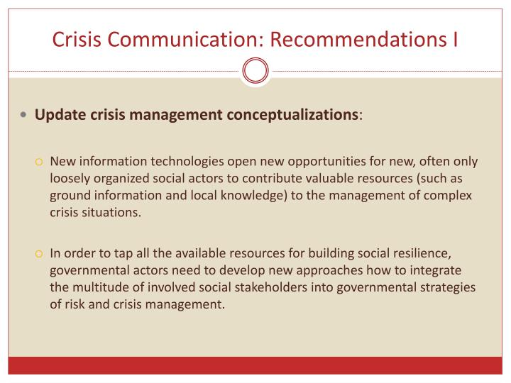 Crisis Communication: Recommendations I