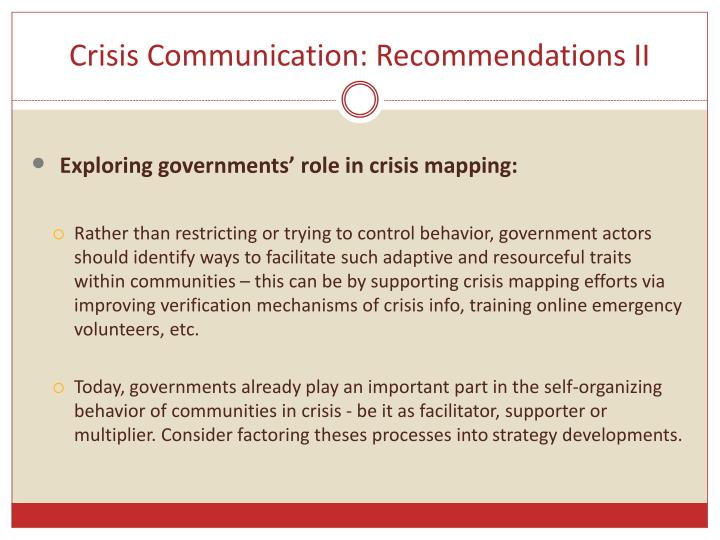 Crisis Communication: Recommendations II
