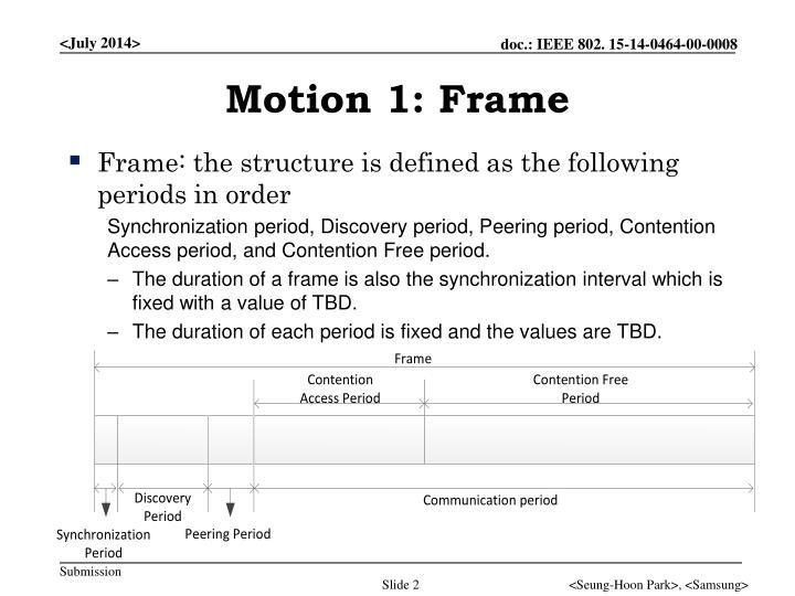 Motion 1 frame
