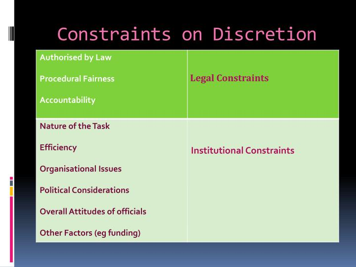 Constraints on Discretion