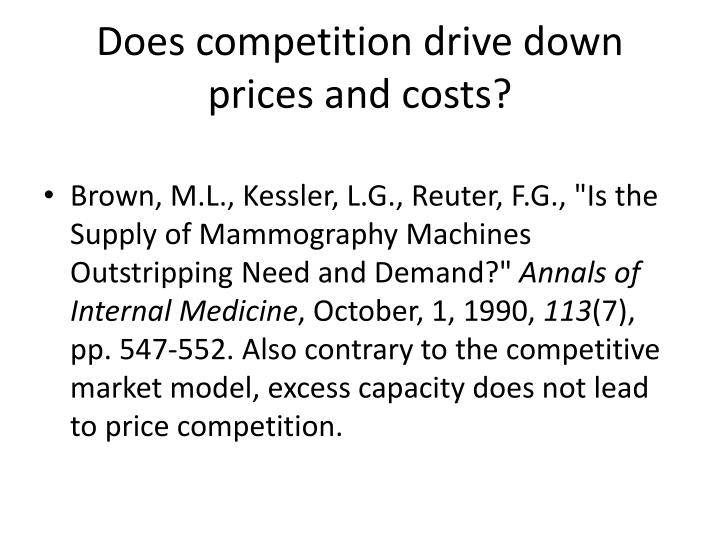 Does competition drive down prices and costs?