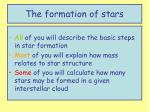 the formation of stars1