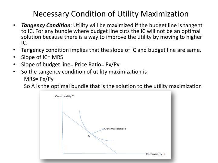 Necessary condition of utility maximization
