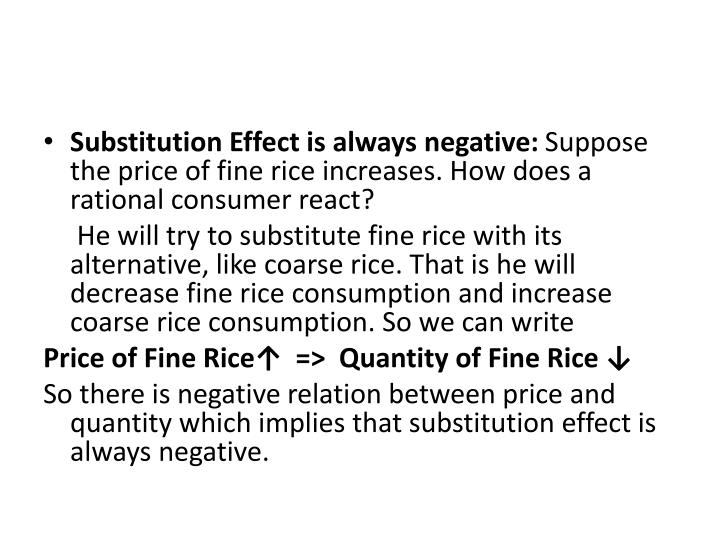 Substitution Effect is always negative