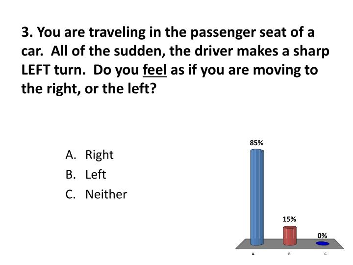 3. You are traveling in the passenger seat of a car.  All of the sudden, the driver makes a sharp LEFT turn.  Do you