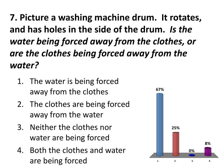 7. Picture a washing machine drum.  It rotates, and has holes in the side of the drum.