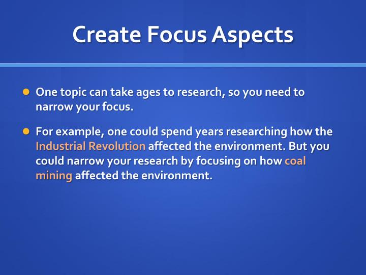 Create Focus Aspects
