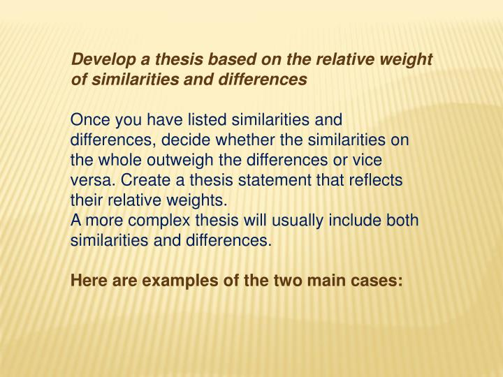 Develop a thesis based on the relative weight of similarities and