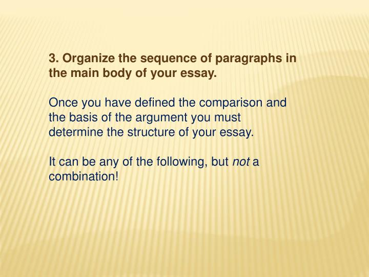 3. Organize the sequence of paragraphs in the main body of your essay.