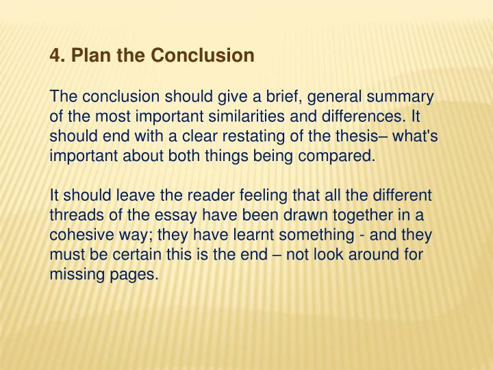 4. Plan the Conclusion