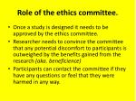 role of the ethics committee