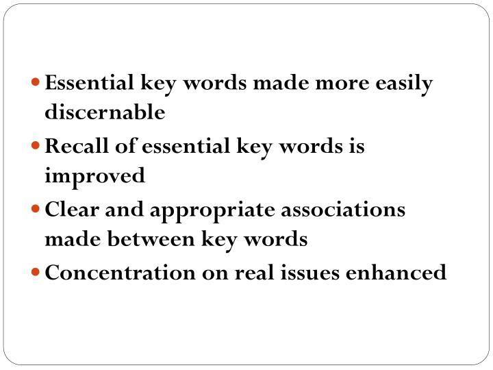 Essential key words made more easily discernable