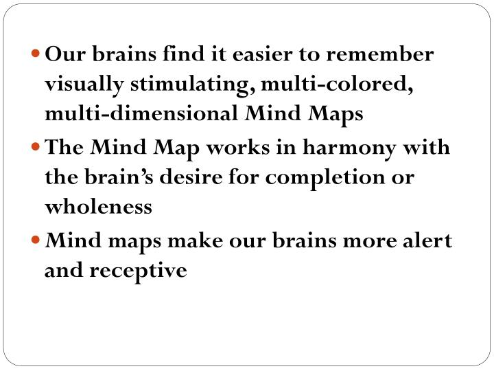Our brains find it easier to remember visually stimulating, multi-colored, multi-dimensional Mind Maps