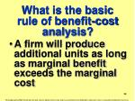 what is the basic rule of benefit cost analysis