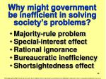 why might government be inefficient in solving society s problems