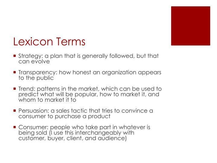 Lexicon terms