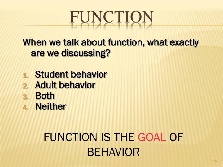 When we talk about function, what exactly are we discussing?