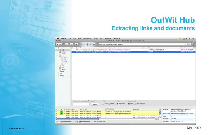 Outwit hub extracting links and documents