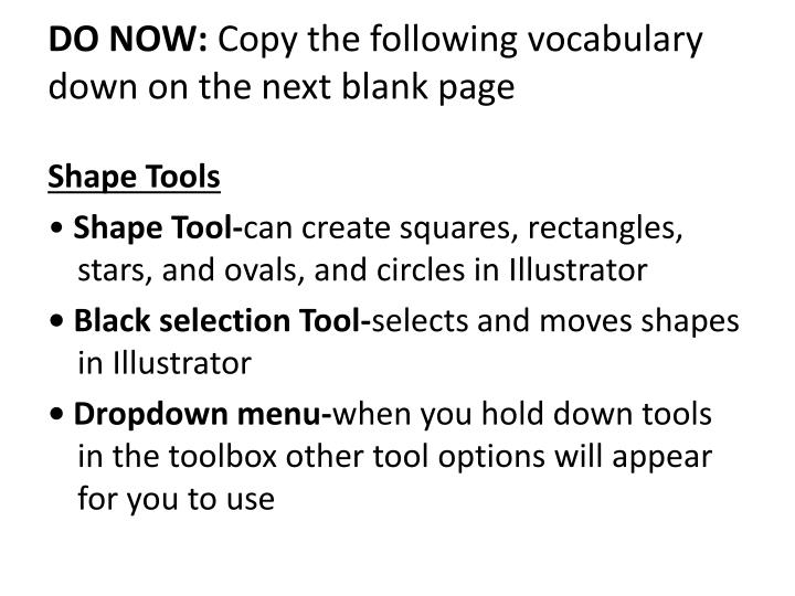 do now copy the following vocabulary down on th e next blank page