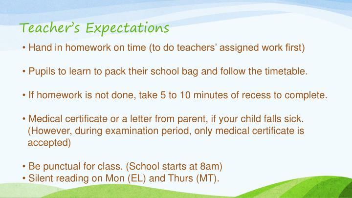 Teacher's Expectations