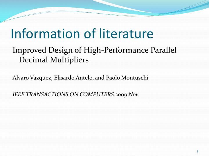 Information of literature