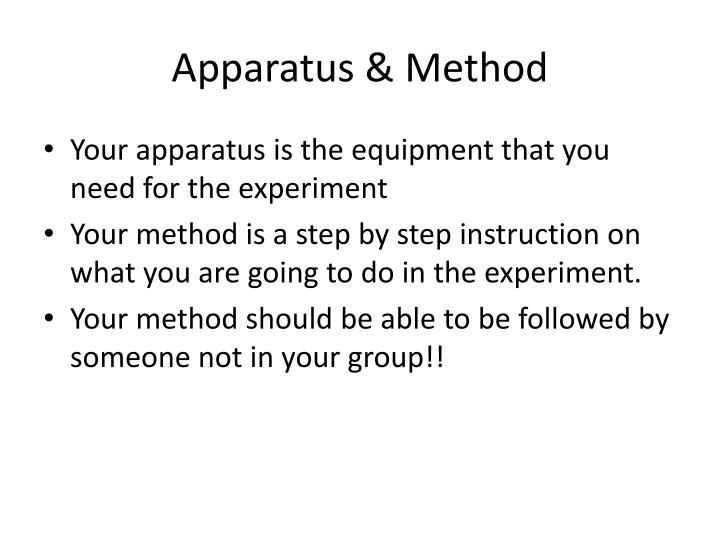 Apparatus & Method