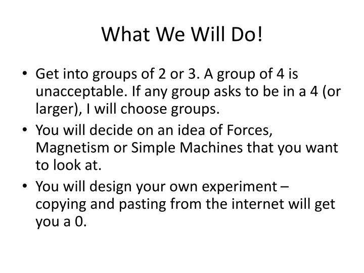 What We Will Do!