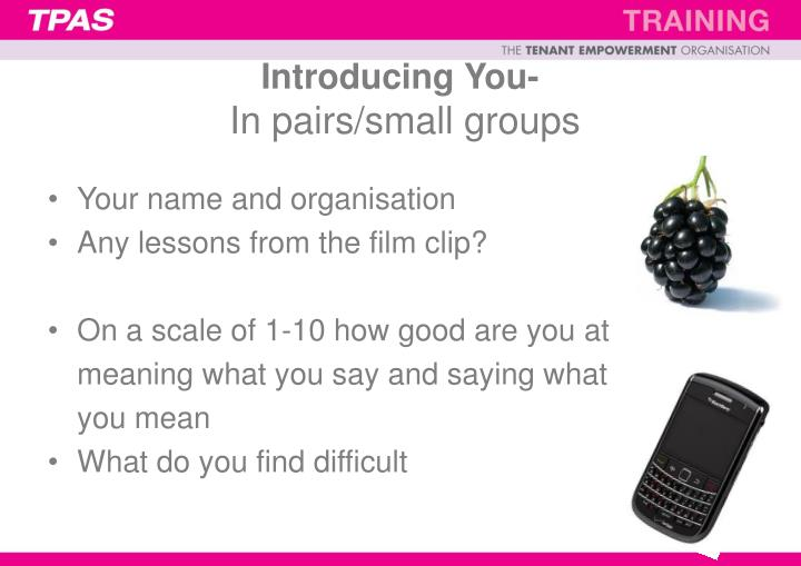 Introducing you in pairs small groups