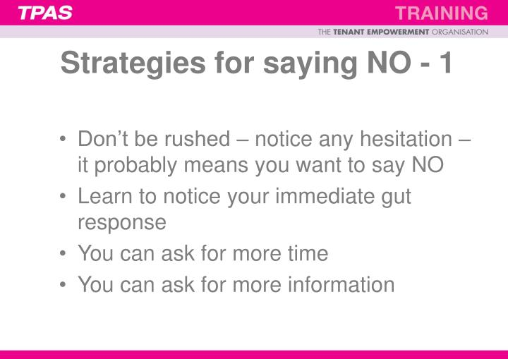 Strategies for saying NO - 1