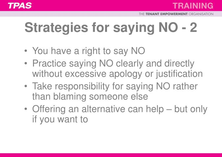 Strategies for saying NO - 2