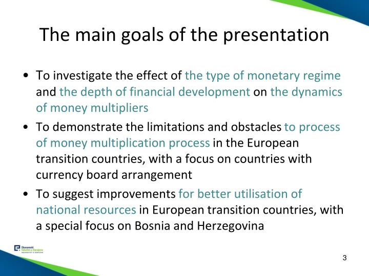 The main goals of the presentation