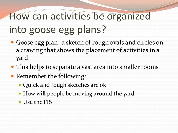 How can activities be organized into goose egg plans?