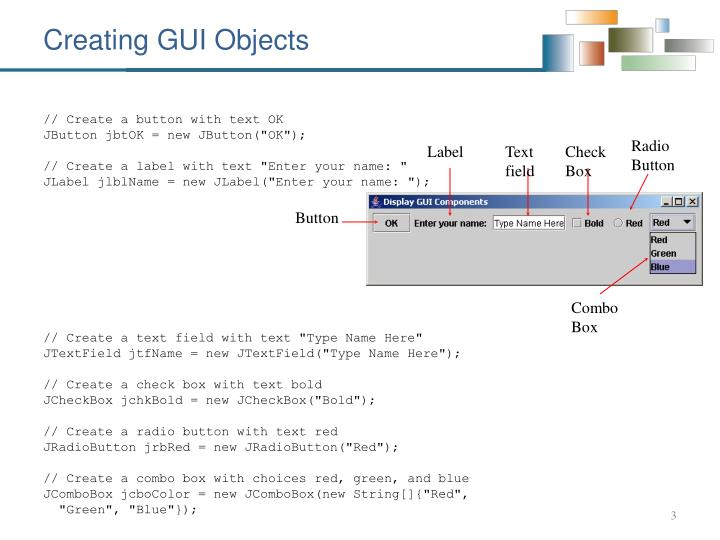 Creating gui objects