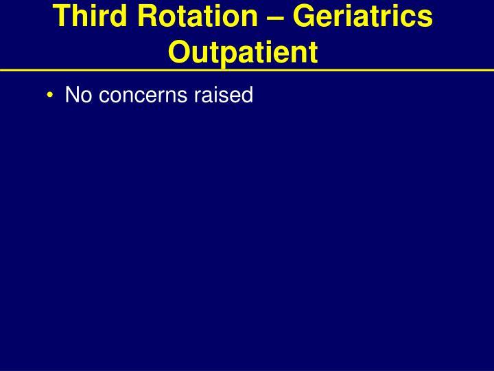 Third Rotation – Geriatrics Outpatient
