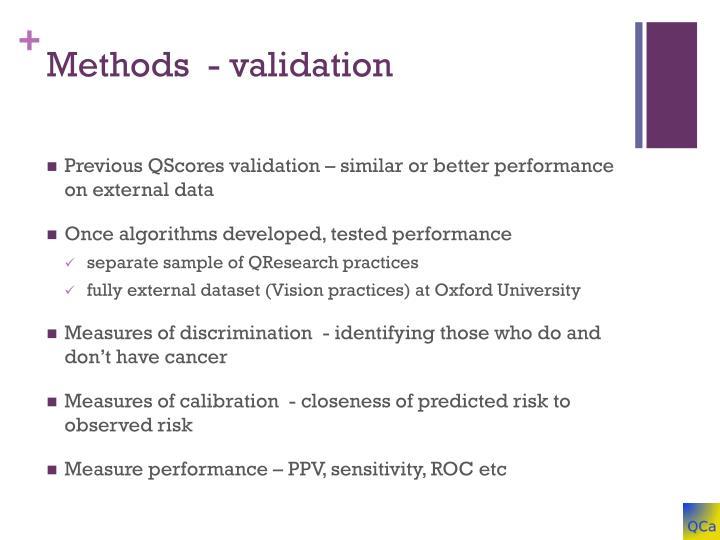 Methods  - validation