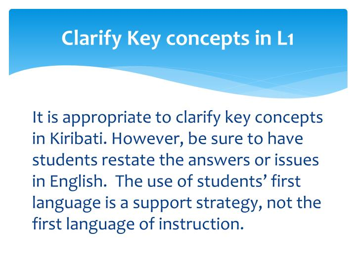 Clarify Key concepts in L1