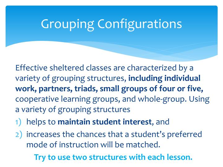 Grouping Configurations