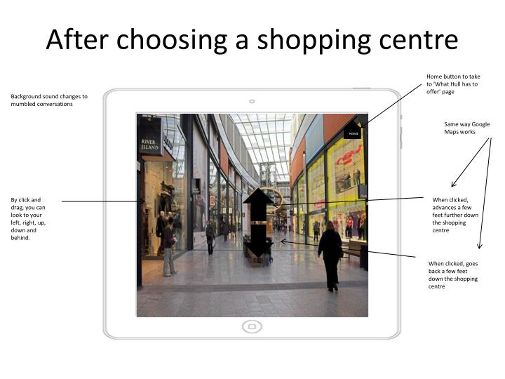 After choosing a shopping centre