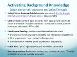 activating background knowledge your personal reactions on voicethread