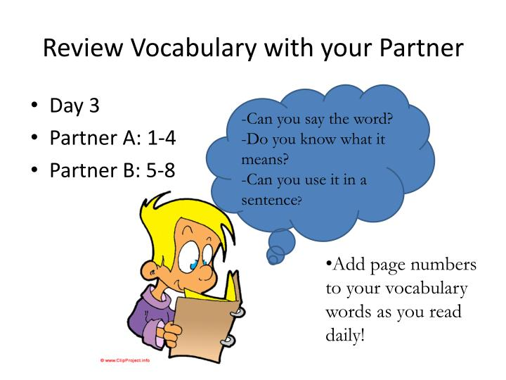 Review Vocabulary with your Partner