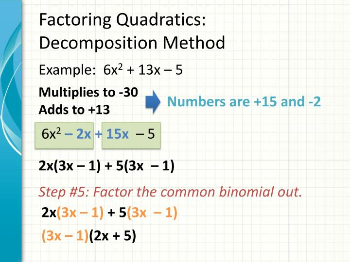 Factoring Quadratics: