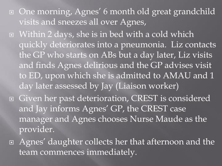 One morning, Agnes' 6 month old great grandchild visits and sneezes all over Agnes,
