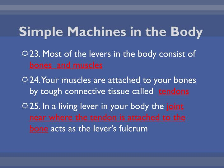 Simple Machines in the Body