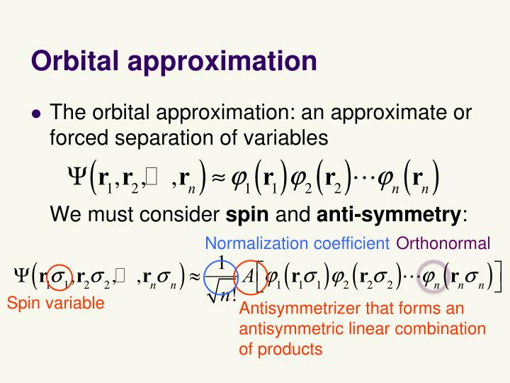 Orbital approximation