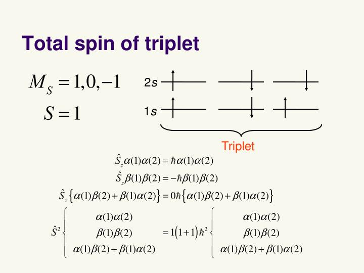 Total spin of triplet