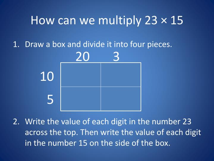 How can we multiply 23 15