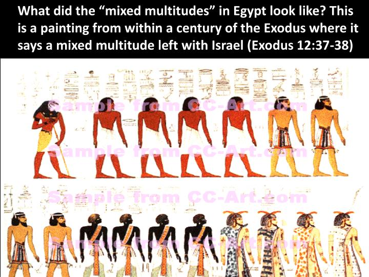 """What did the """"mixed multitudes"""" in Egypt look like? This is a painting from within a century of the Exodus where it says a mixed multitude left with Israel (Exodus 12:37-38)"""