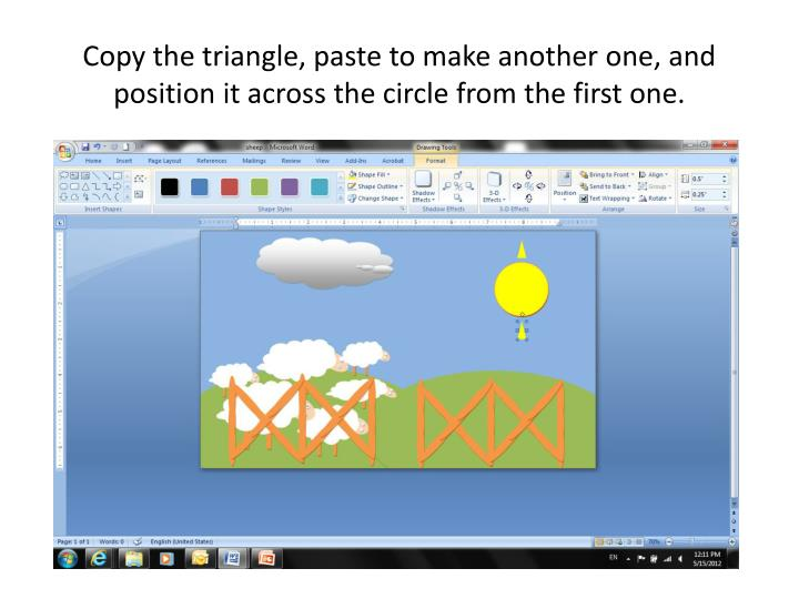 Copy the triangle, paste to make another one, and position it across the circle from the first one.